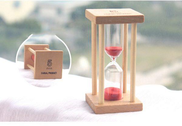 đồng hồ cát gỗ 5 phút