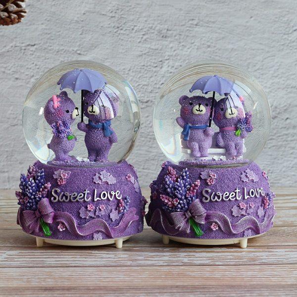 quả cầu tuyết gấu tím Sweet love